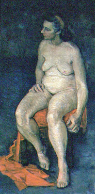 utermohlen-1953-female nude-seated-oil on canvas