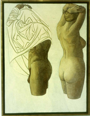 utermohlen-1973-bathers reflected-1210x915mm-oil on canvas-nancy-coral-collection