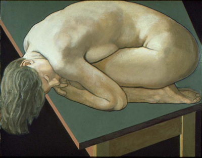utermohlen-1973-crouching figure-510x635mm-oil on canvas