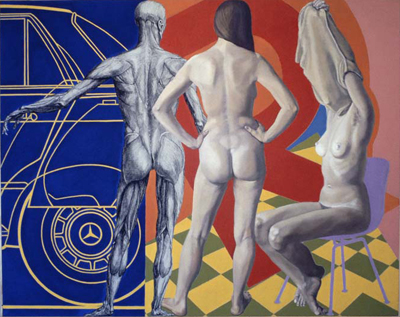utermohlen-1974-three figures-48x60cm-oil on canvas