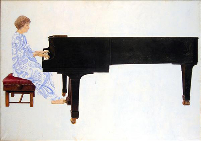 utermohlen-1971-woman at piano-oil on canvas-coll simon rees-london