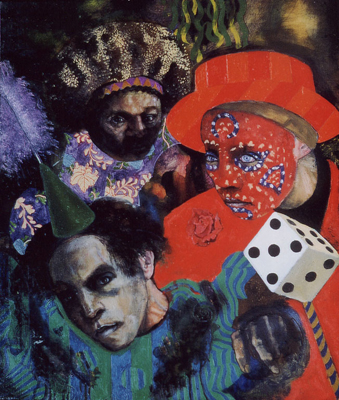 utermohlen-1969-three clowns-oil on canvas-61x51cm