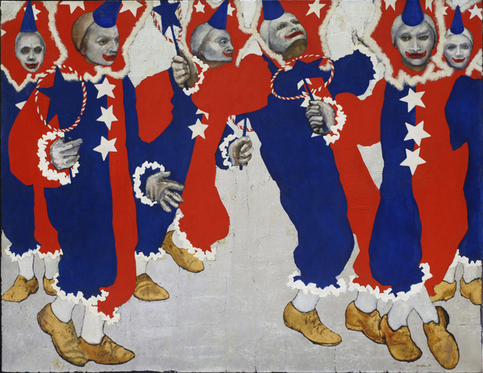 utermohlen 1969 mummers uncle sams clowns oil on canvas 1060x1375mm 700