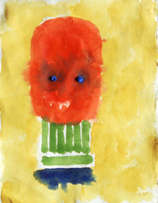 23-utermohlen-1996 mask green neck watercolor 285x210mm-bob