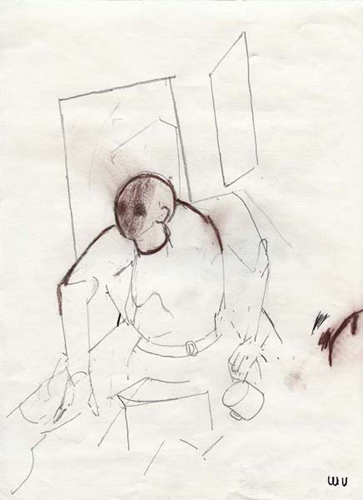 utermohlen 1995 figure in studio with mug pencil and cont 290x220mm bob
