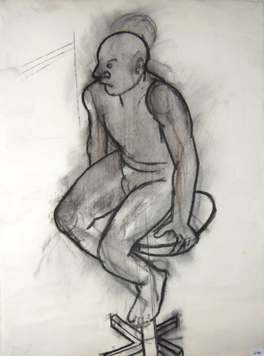 utermohlen 1995 model on stool charcoal 760x555mm bob