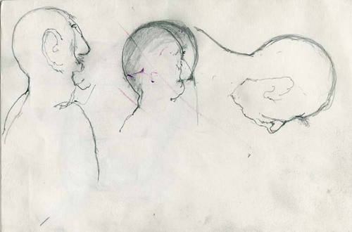 utermohlen 1997 3 heads and ears pencil 175x255mm carnet bob